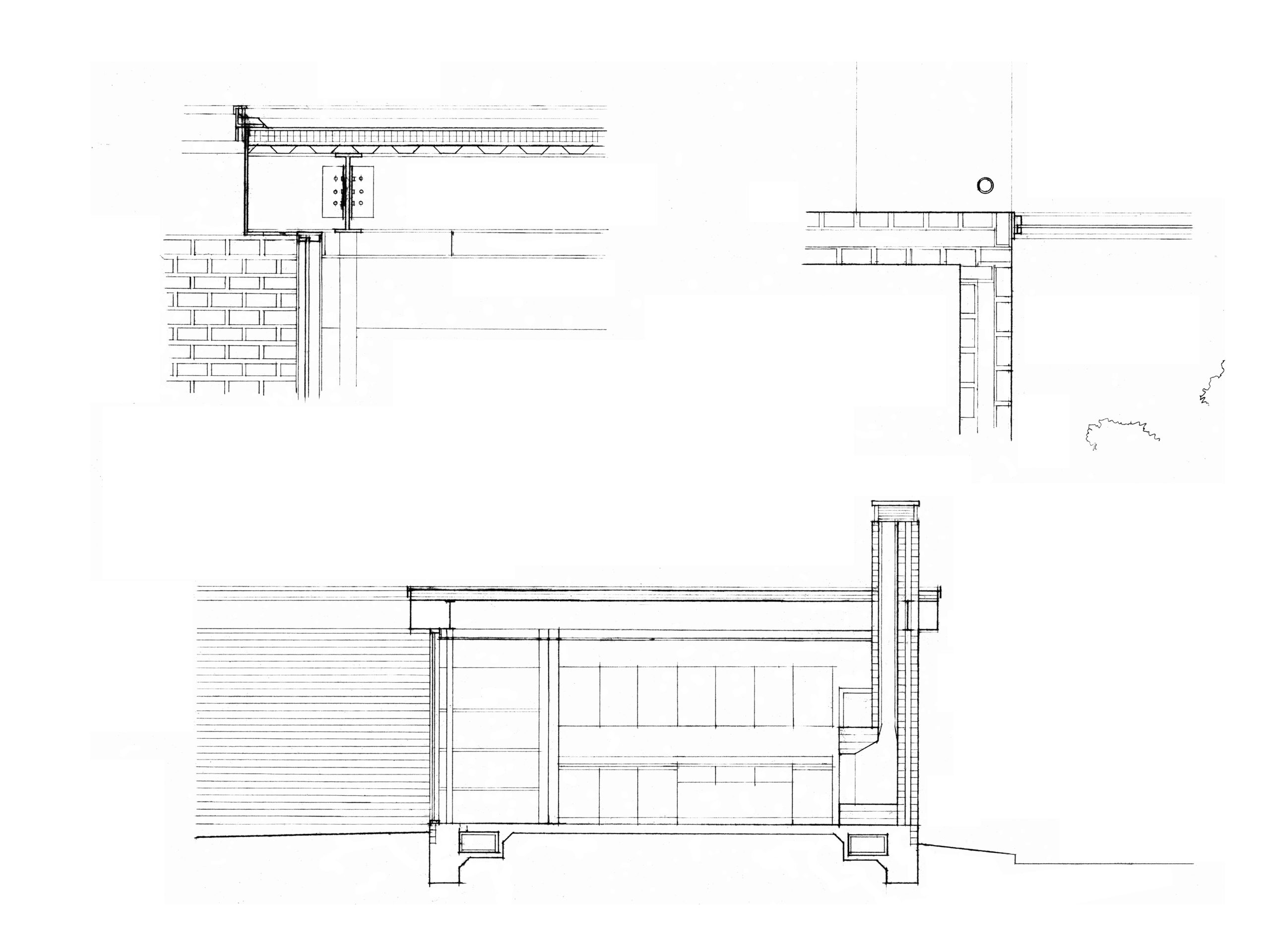 mies house section and details drawing