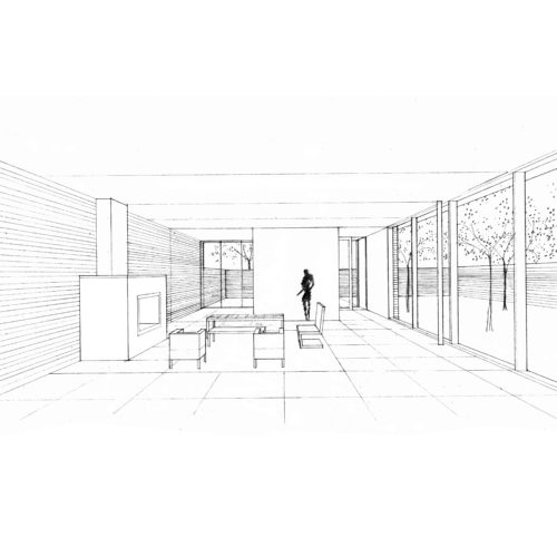 mies house perspective drawing