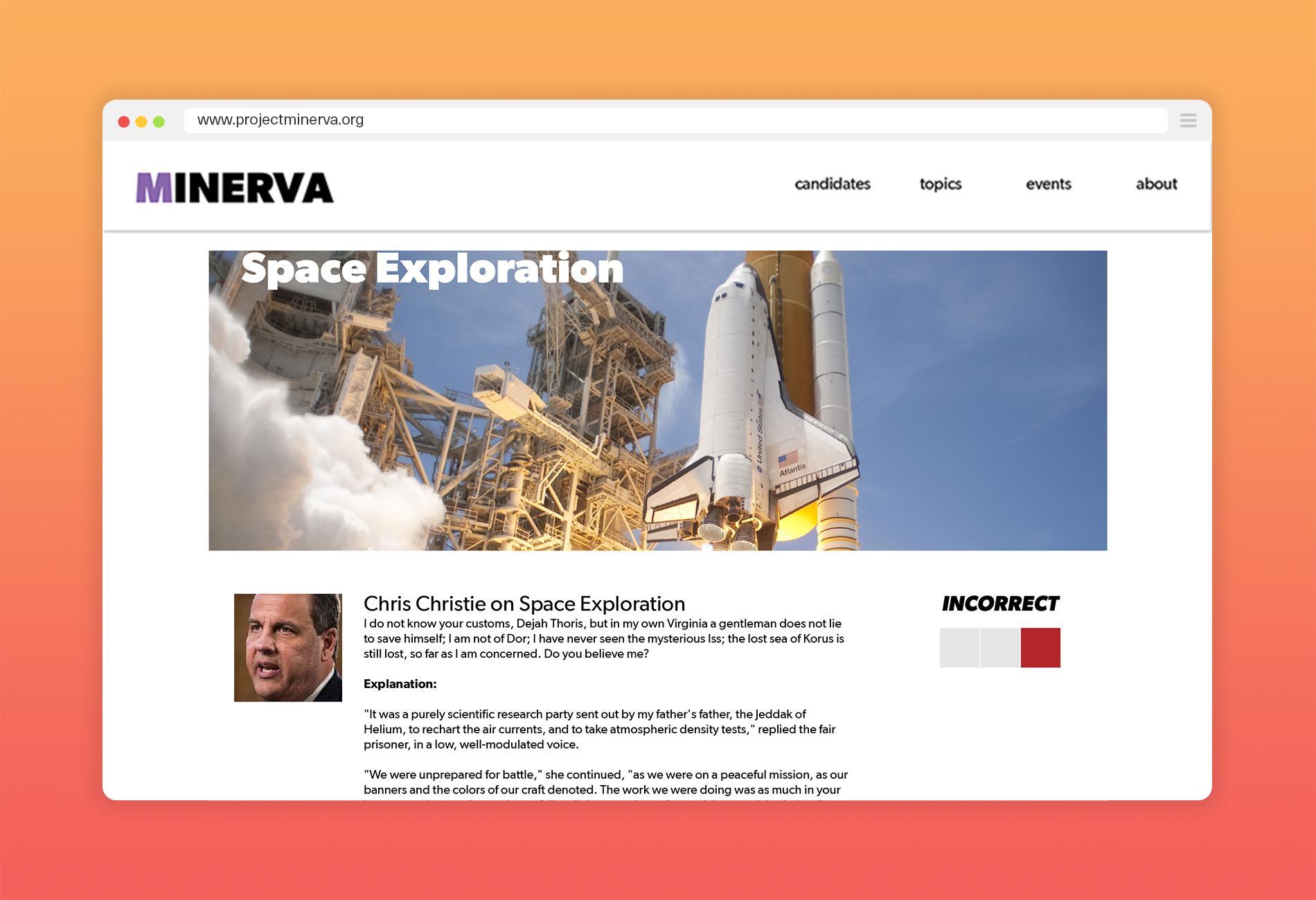 Project Minverva Category Page Browser Mockup