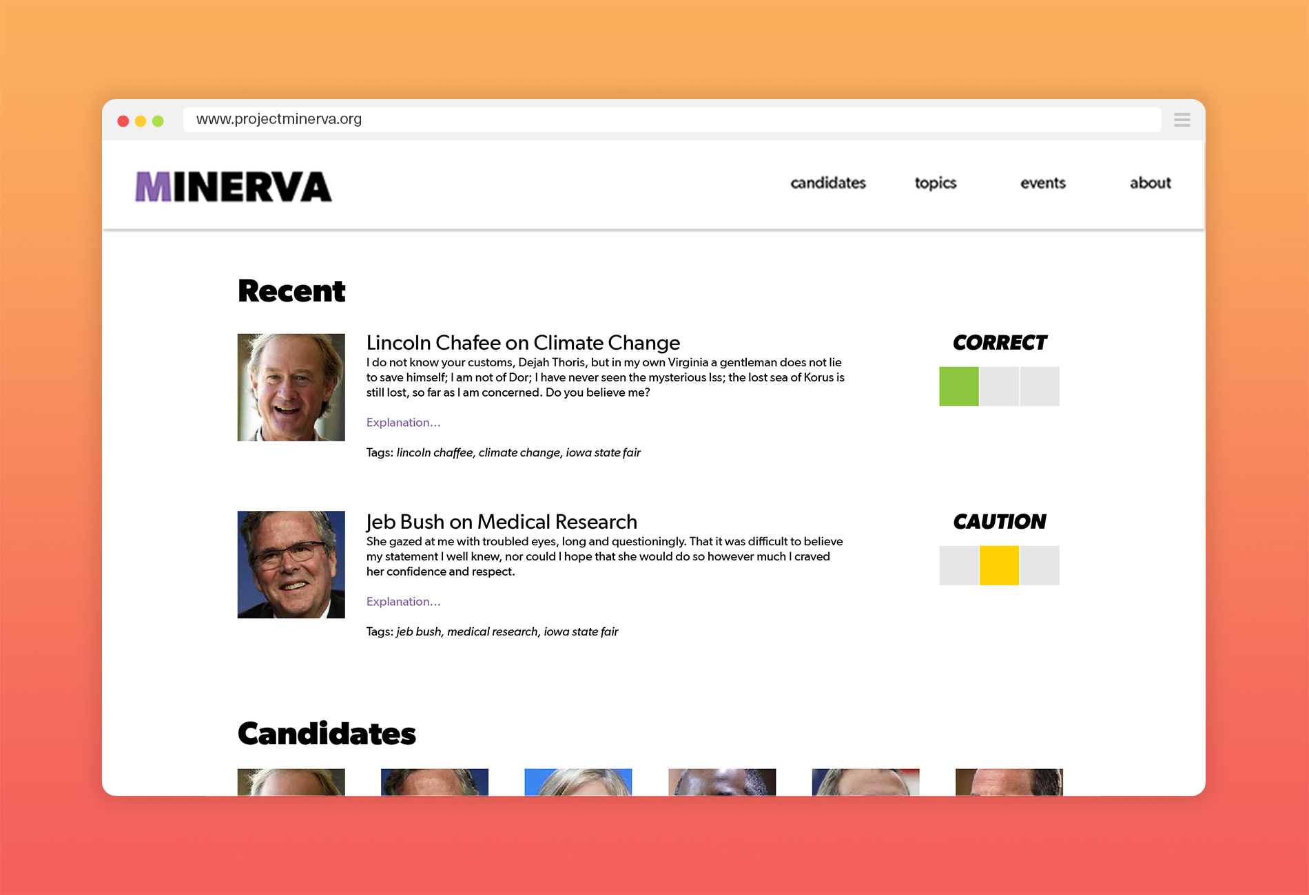 Project Minverva Home Page Browser Mockup