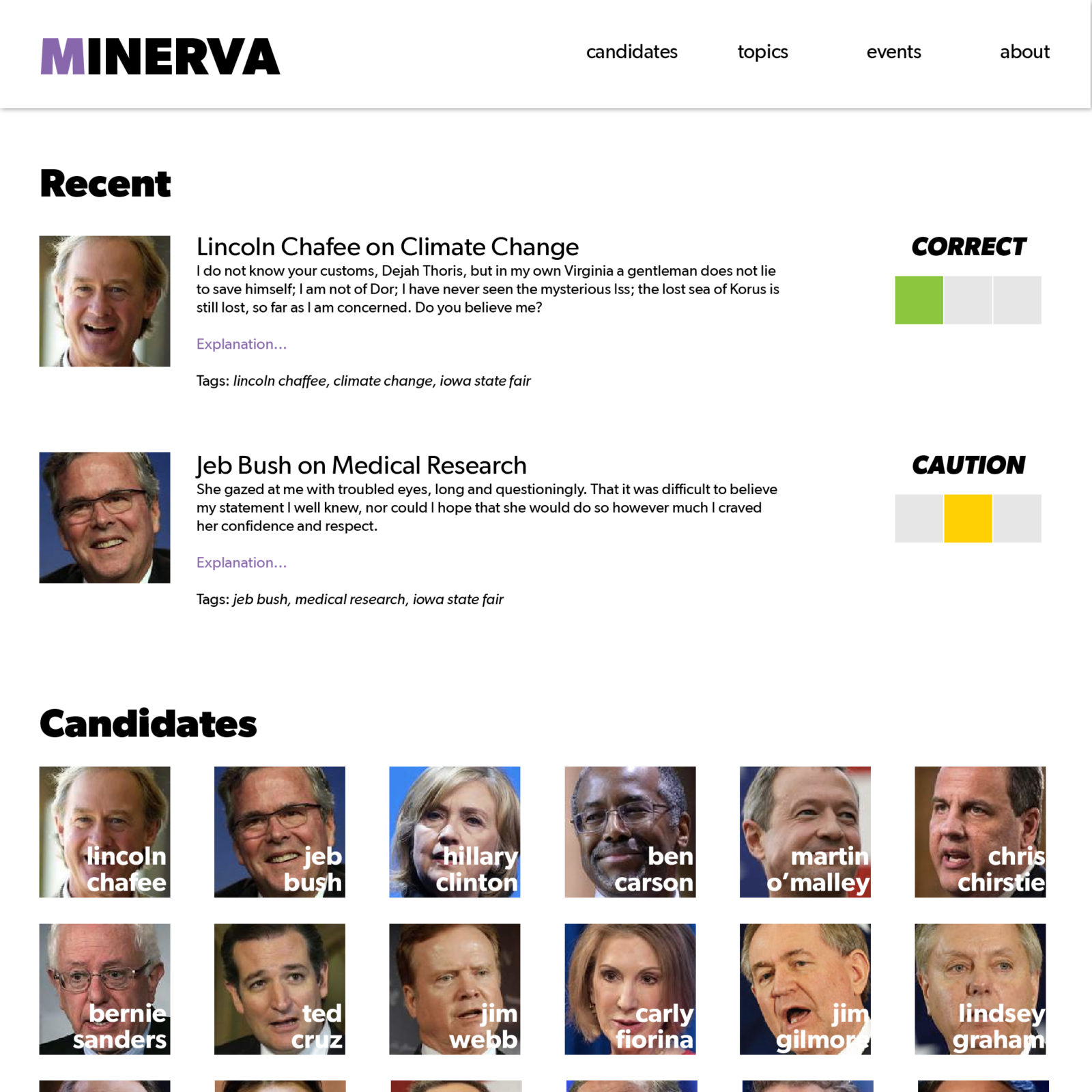 Project Minvera Front Page