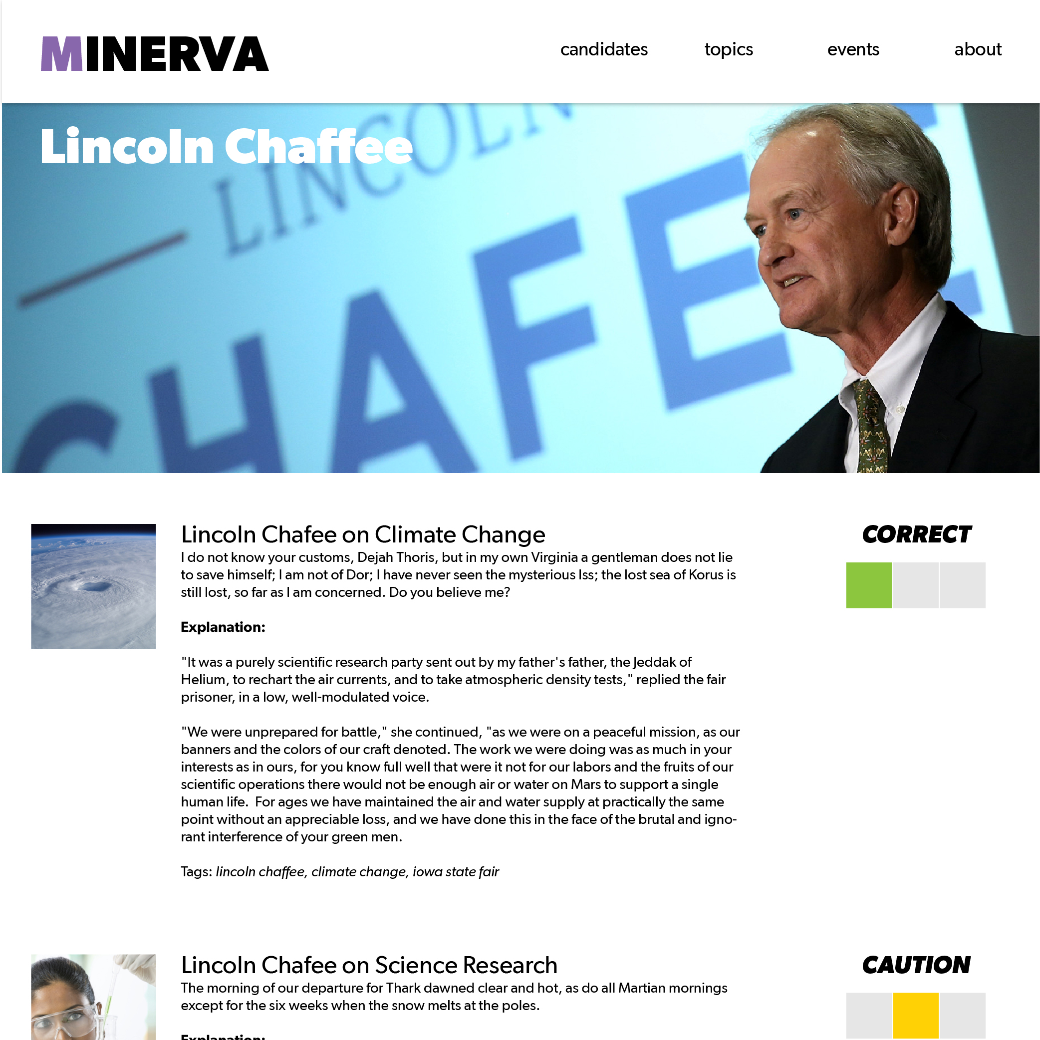 Project Minvera Candidate (Category) Page