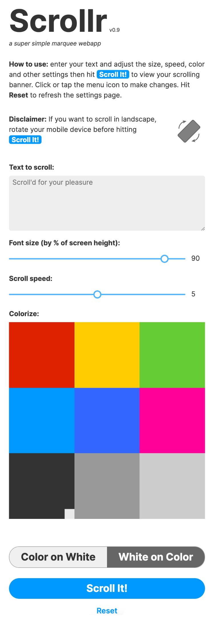 scrollr app full length mobile settings page